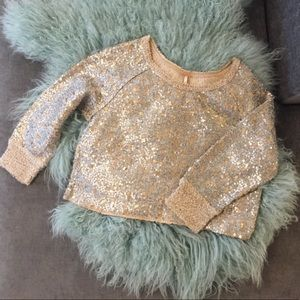 Free People Cropped Sequin Sweater